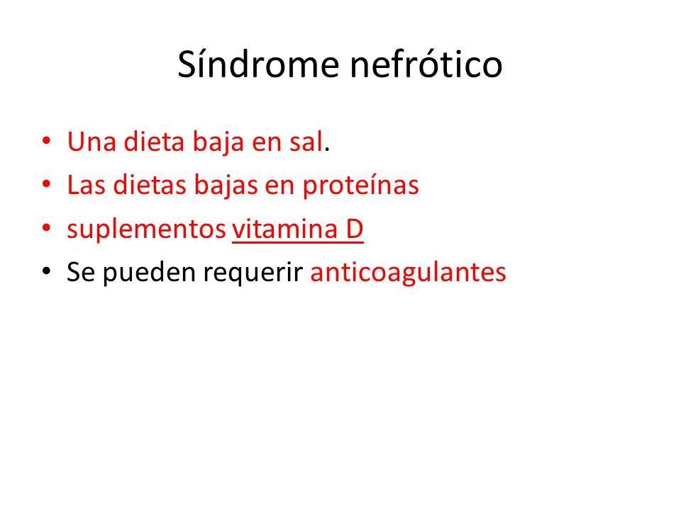Síndrome nefrótico Una dieta baja en sal.