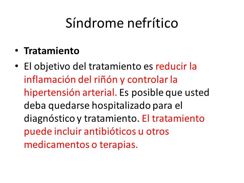 Síndrome nefrítico Tratamiento