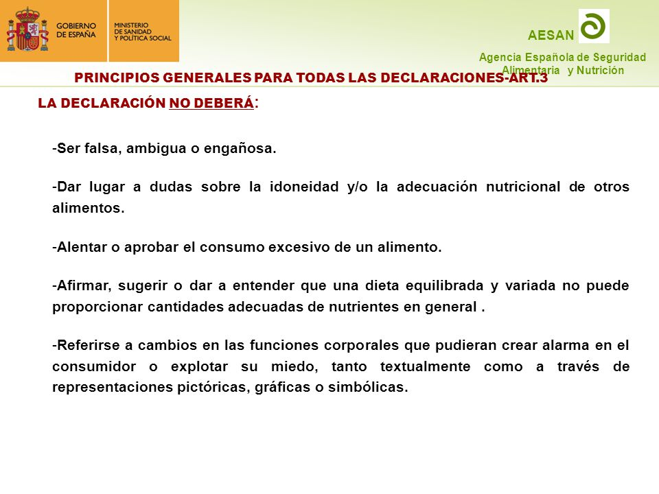 PRINCIPIOS GENERALES PARA TODAS LAS DECLARACIONES-ART.3
