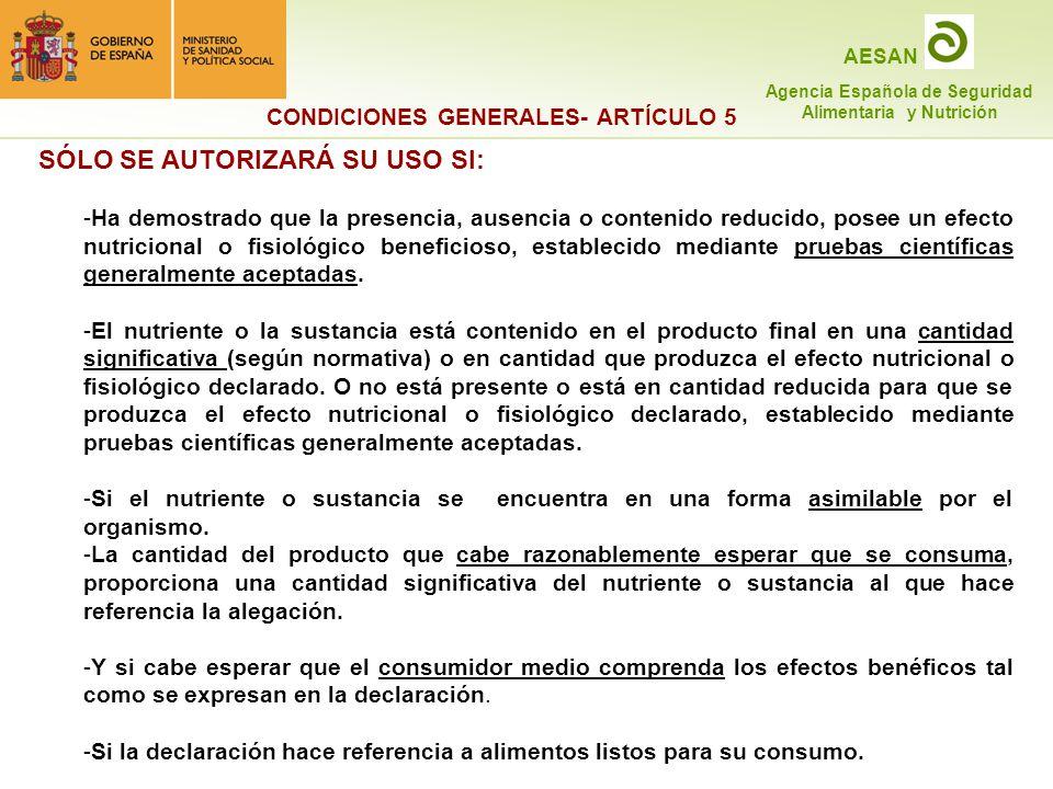 CONDICIONES GENERALES- ARTÍCULO 5