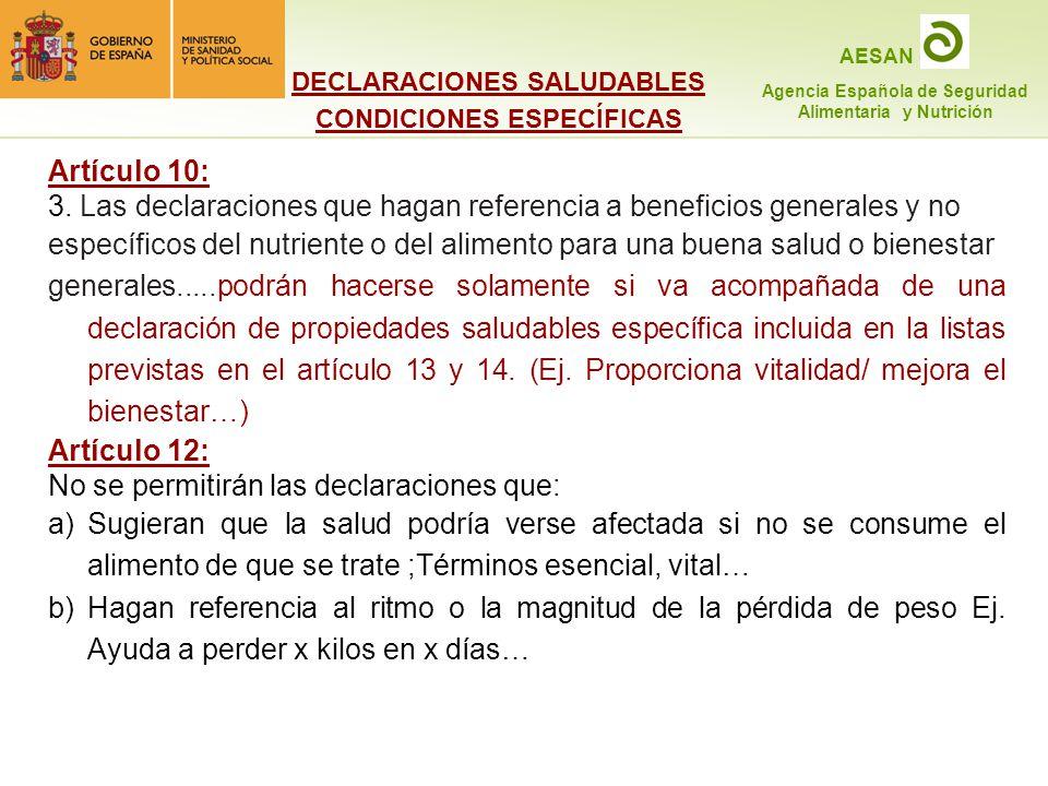 DECLARACIONES SALUDABLES CONDICIONES ESPECÍFICAS