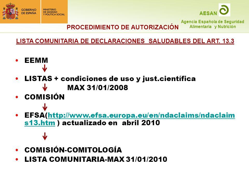 LISTAS + condiciones de uso y just.científica MAX 31/01/2008 COMISIÓN