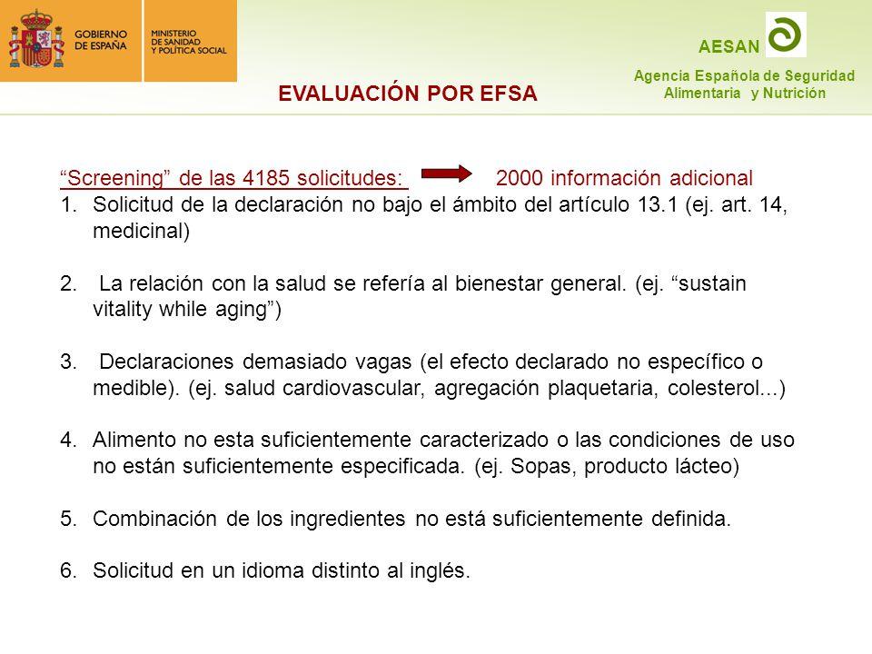 EVALUACIÓN POR EFSA Screening de las 4185 solicitudes: 2000 información adicional.