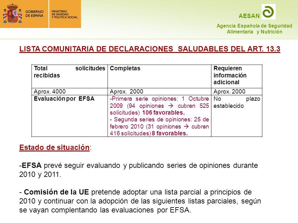 LISTA COMUNITARIA DE DECLARACIONES SALUDABLES DEL ART. 13.3