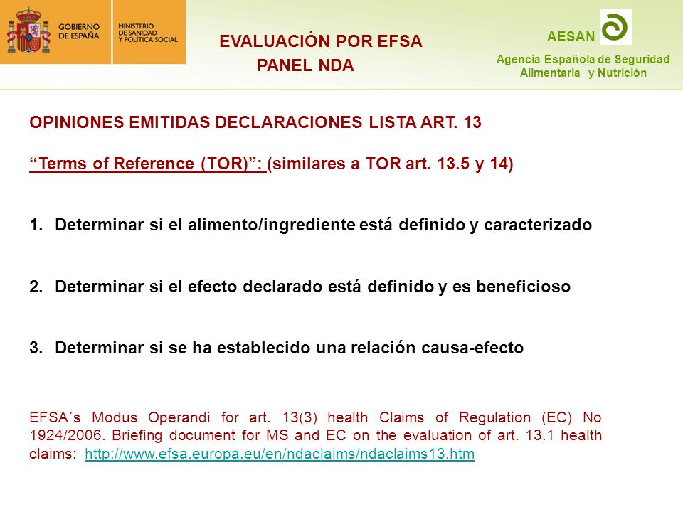 OPINIONES EMITIDAS DECLARACIONES LISTA ART. 13