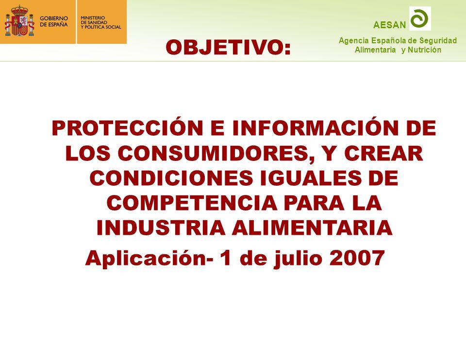 OBJETIVO: PROTECCIÓN E INFORMACIÓN DE LOS CONSUMIDORES, Y CREAR CONDICIONES IGUALES DE COMPETENCIA PARA LA INDUSTRIA ALIMENTARIA.