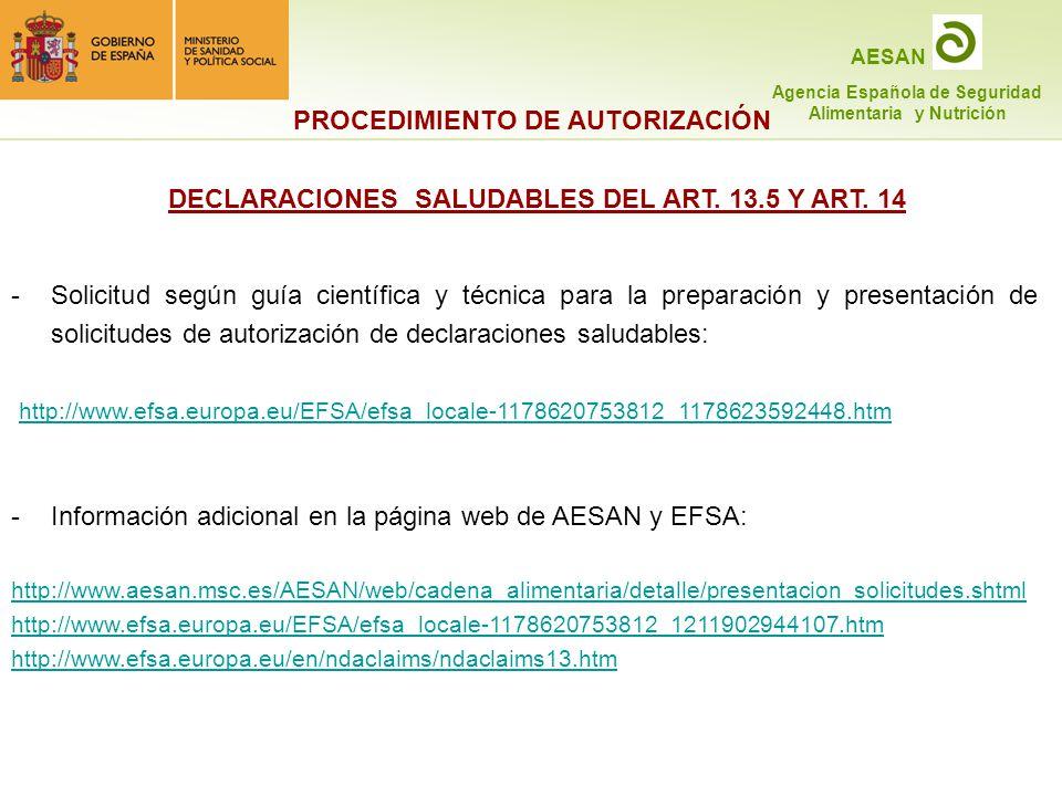 DECLARACIONES SALUDABLES DEL ART. 13.5 Y ART. 14