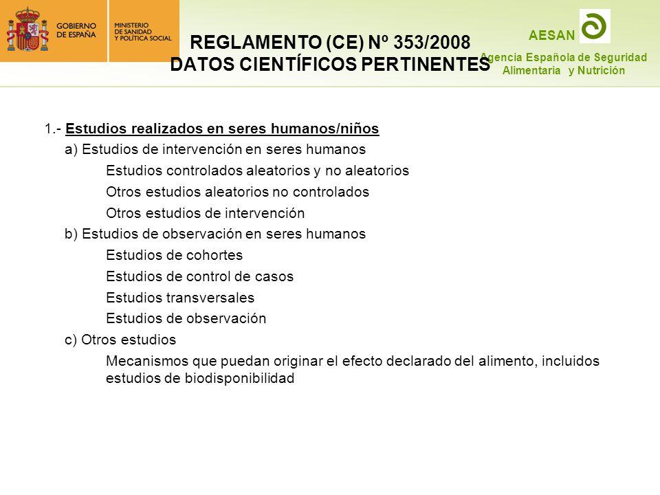 REGLAMENTO (CE) Nº 353/2008 DATOS CIENTÍFICOS PERTINENTES