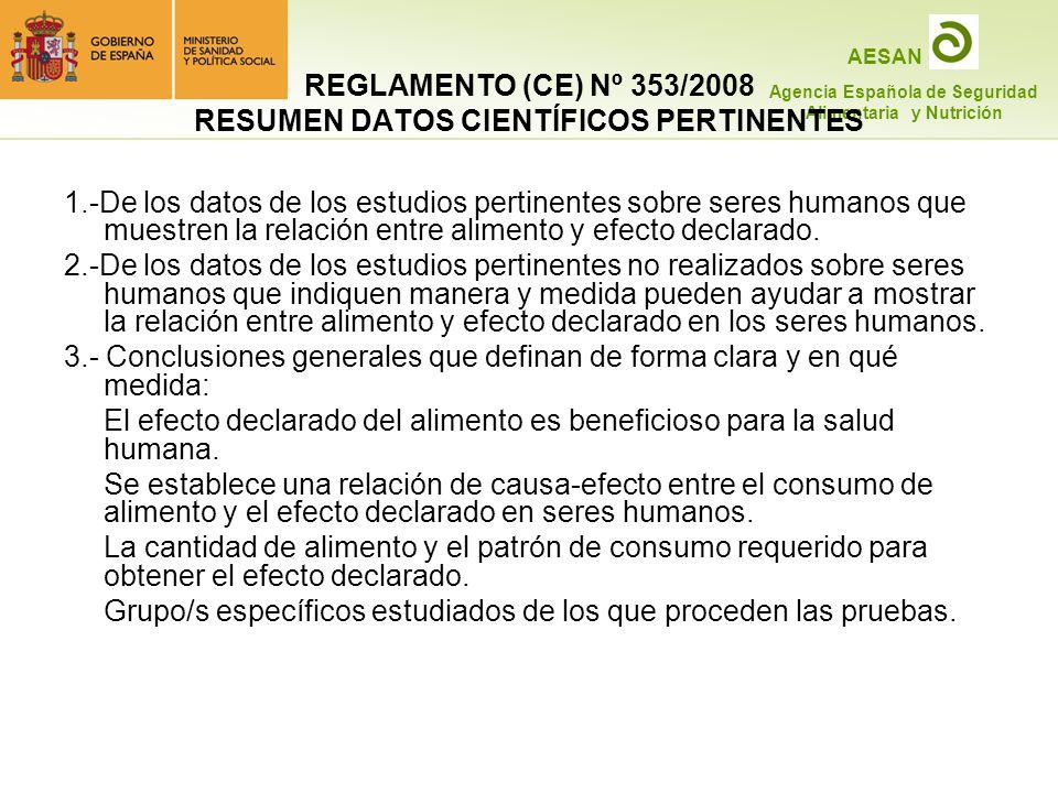 REGLAMENTO (CE) Nº 353/2008 RESUMEN DATOS CIENTÍFICOS PERTINENTES