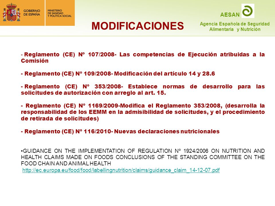 MODIFICACIONES Reglamento (CE) Nº 107/2008- Las competencias de Ejecución atribuidas a la Comisión.