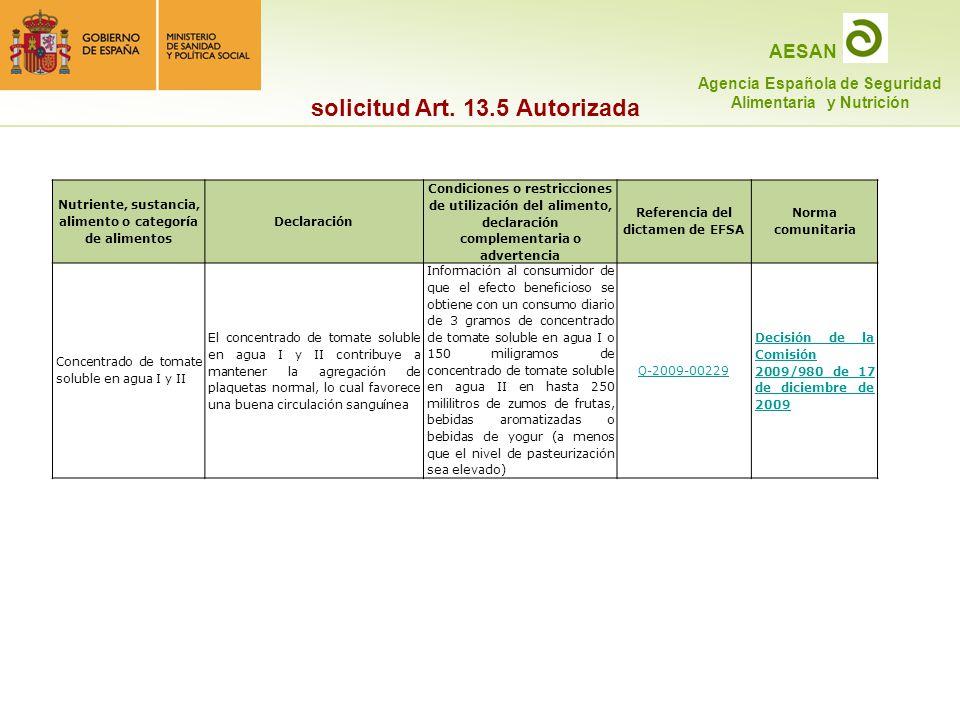 solicitud Art. 13.5 Autorizada