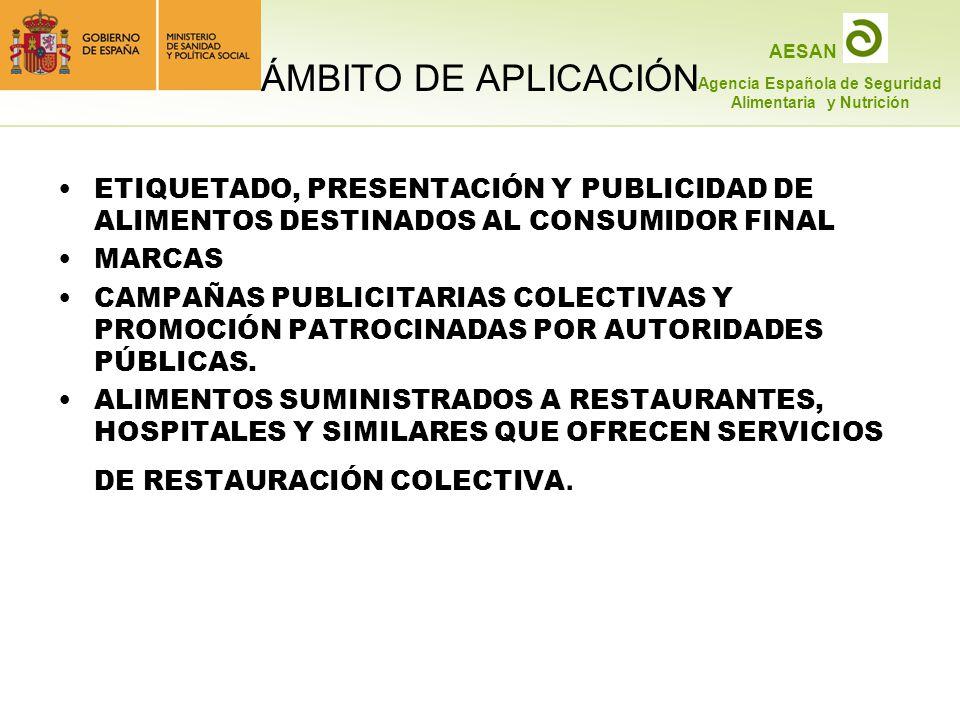 ÁMBITO DE APLICACIÓN ETIQUETADO, PRESENTACIÓN Y PUBLICIDAD DE ALIMENTOS DESTINADOS AL CONSUMIDOR FINAL.