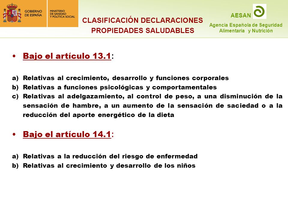 CLASIFICACIÓN DECLARACIONES PROPIEDADES SALUDABLES