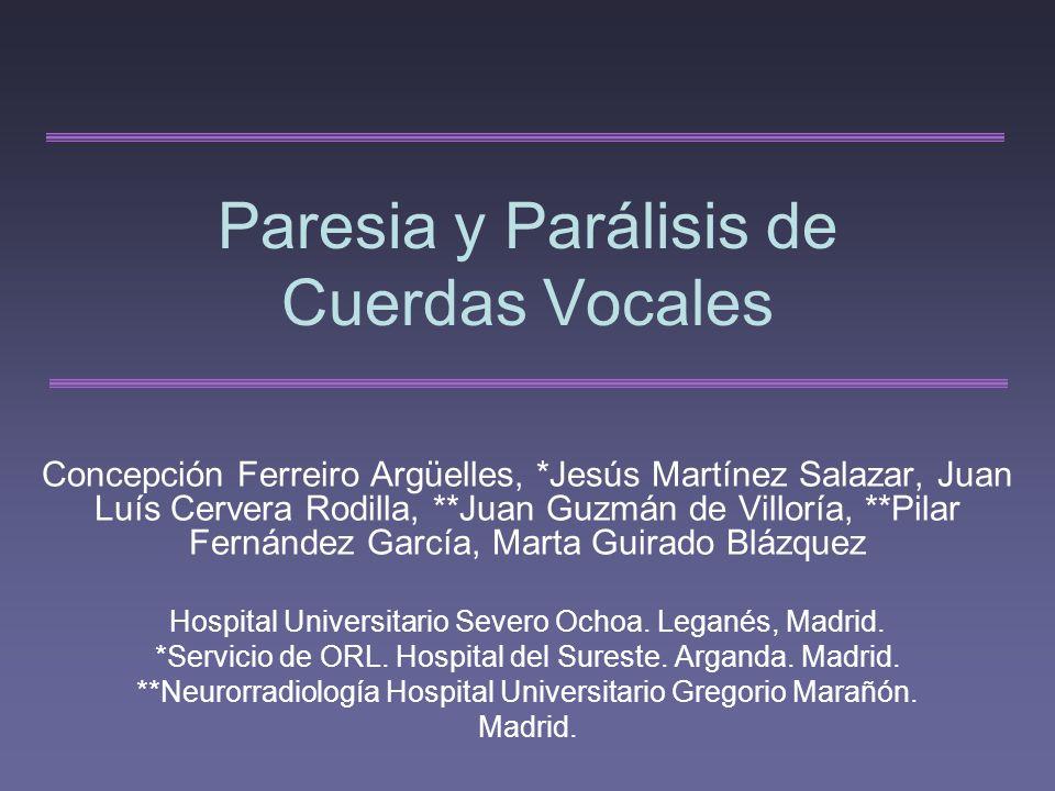 Paresia y Parálisis de Cuerdas Vocales