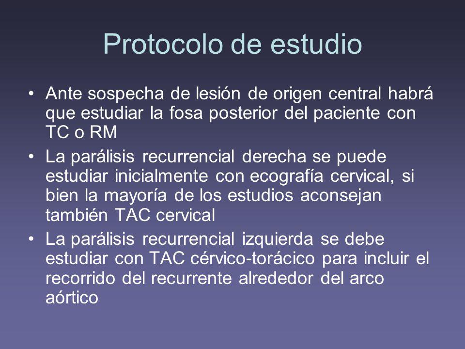 Protocolo de estudio Ante sospecha de lesión de origen central habrá que estudiar la fosa posterior del paciente con TC o RM.