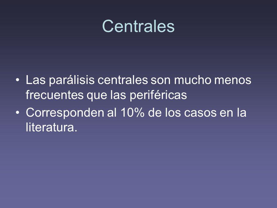 Centrales Las parálisis centrales son mucho menos frecuentes que las periféricas.