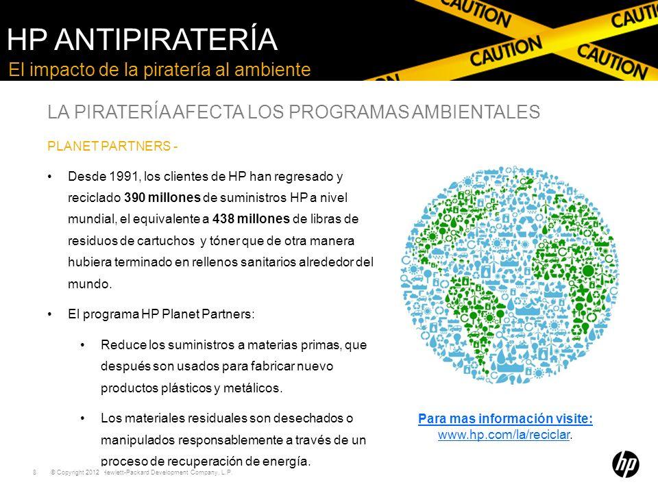 Para mas información visite: www.hp.com/la/reciclar.