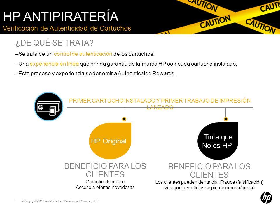 HP Antipiratería ¿DE QUÉ SE TRATA BENEFICIO PARA LOS CLIENTES