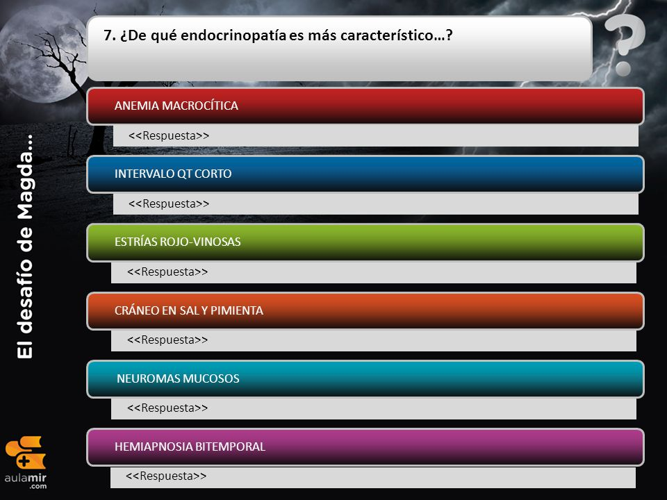 7. ¿De qué endocrinopatía es más característico…