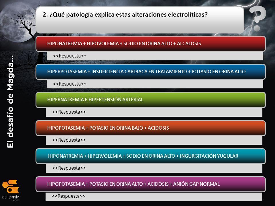 2. ¿Qué patología explica estas alteraciones electrolíticas