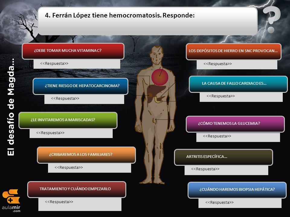 4. Ferrán López tiene hemocromatosis. Responde: