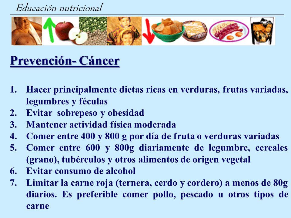 Prevención- Cáncer Educación nutricional