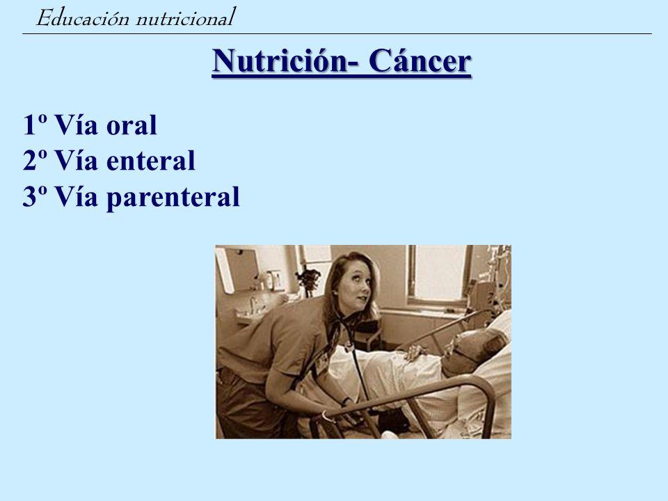 Nutrición- Cáncer 1º Vía oral 2º Vía enteral 3º Vía parenteral