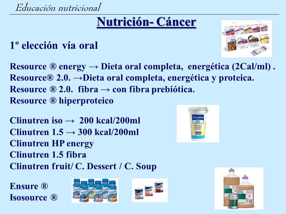 Nutrición- Cáncer 1º elección vía oral Educación nutricional