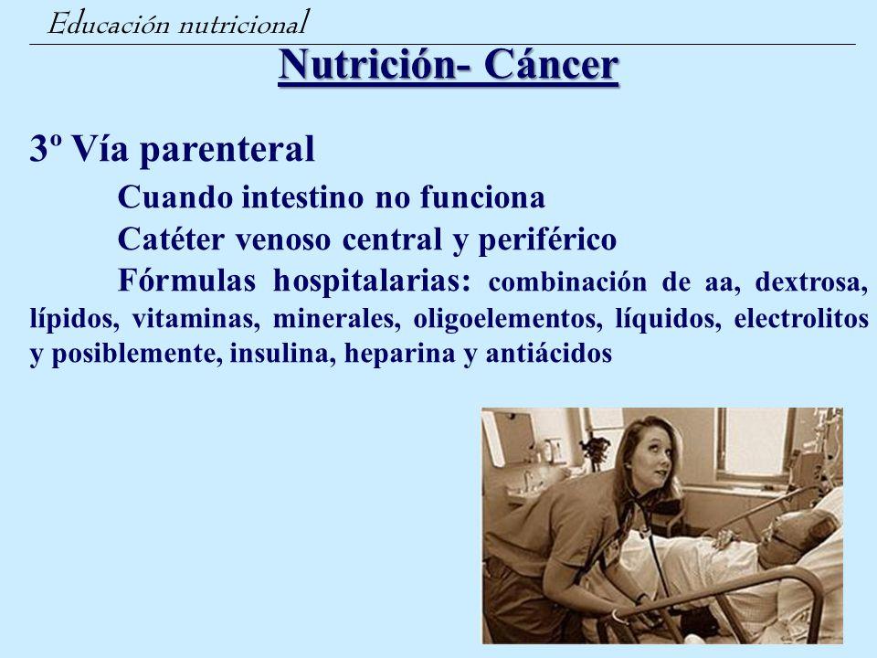 Nutrición- Cáncer 3º Vía parenteral Cuando intestino no funciona
