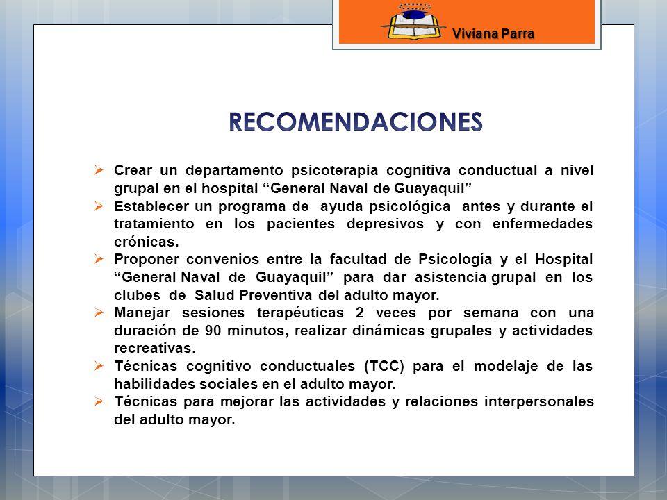 Viviana Parra RECOMENDACIONES. Crear un departamento psicoterapia cognitiva conductual a nivel grupal en el hospital General Naval de Guayaquil