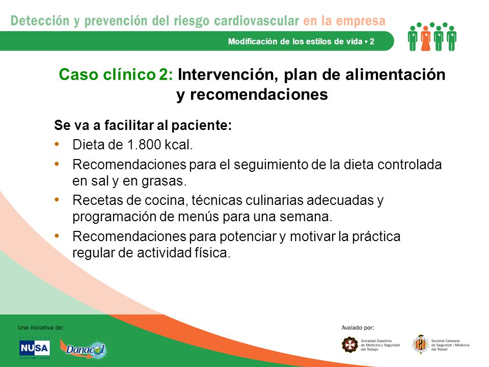 Caso clínico 2: Intervención, plan de alimentación y recomendaciones
