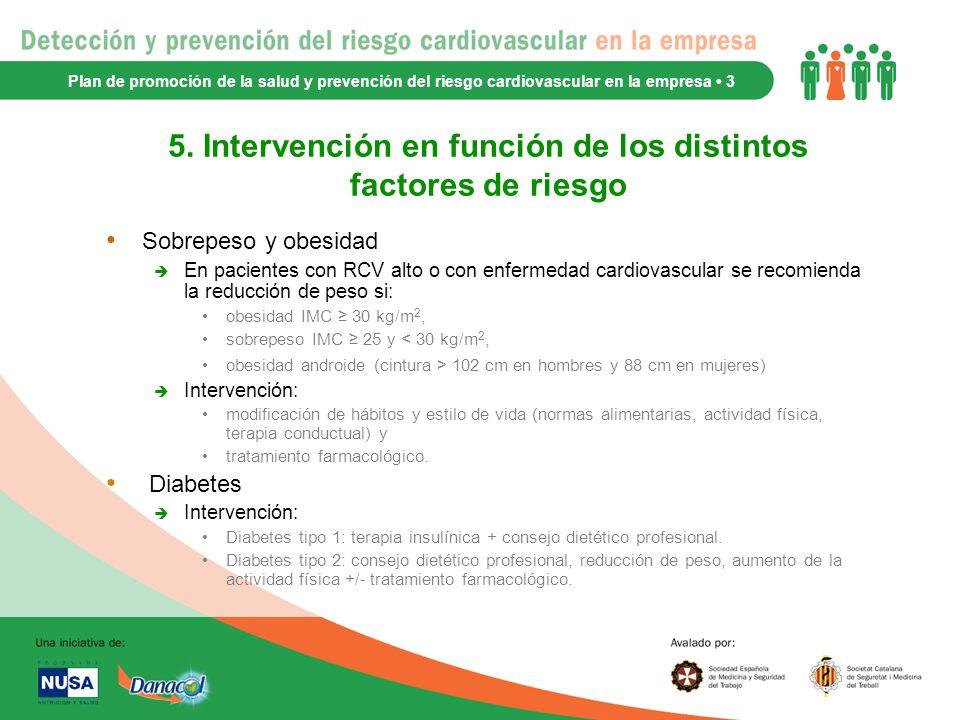 5. Intervención en función de los distintos factores de riesgo