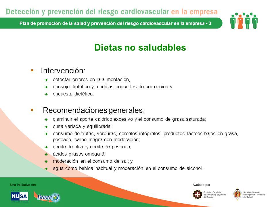 Dietas no saludables Intervención: Recomendaciones generales: