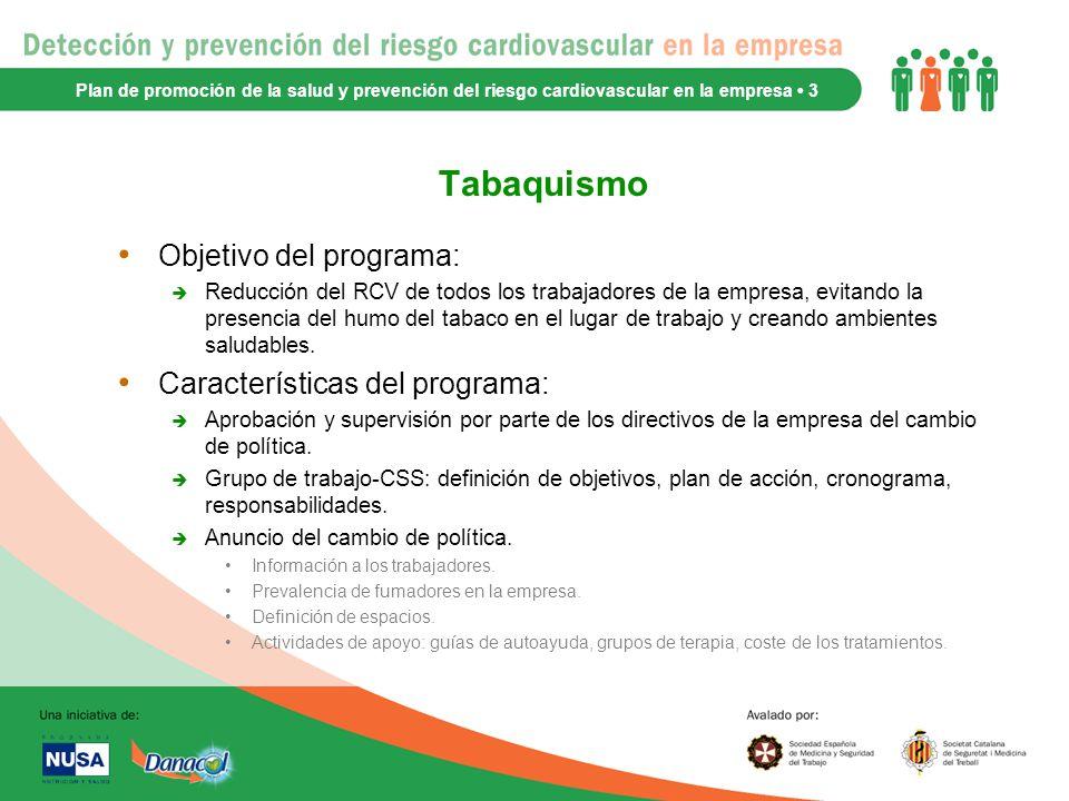 Tabaquismo Objetivo del programa: Características del programa: