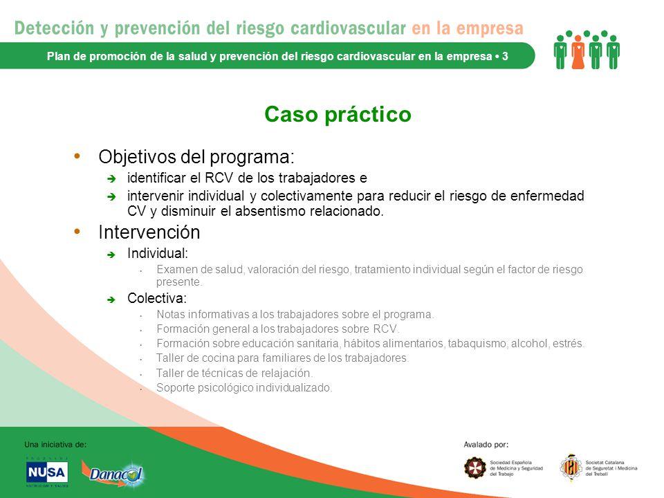 Caso práctico Objetivos del programa: Intervención