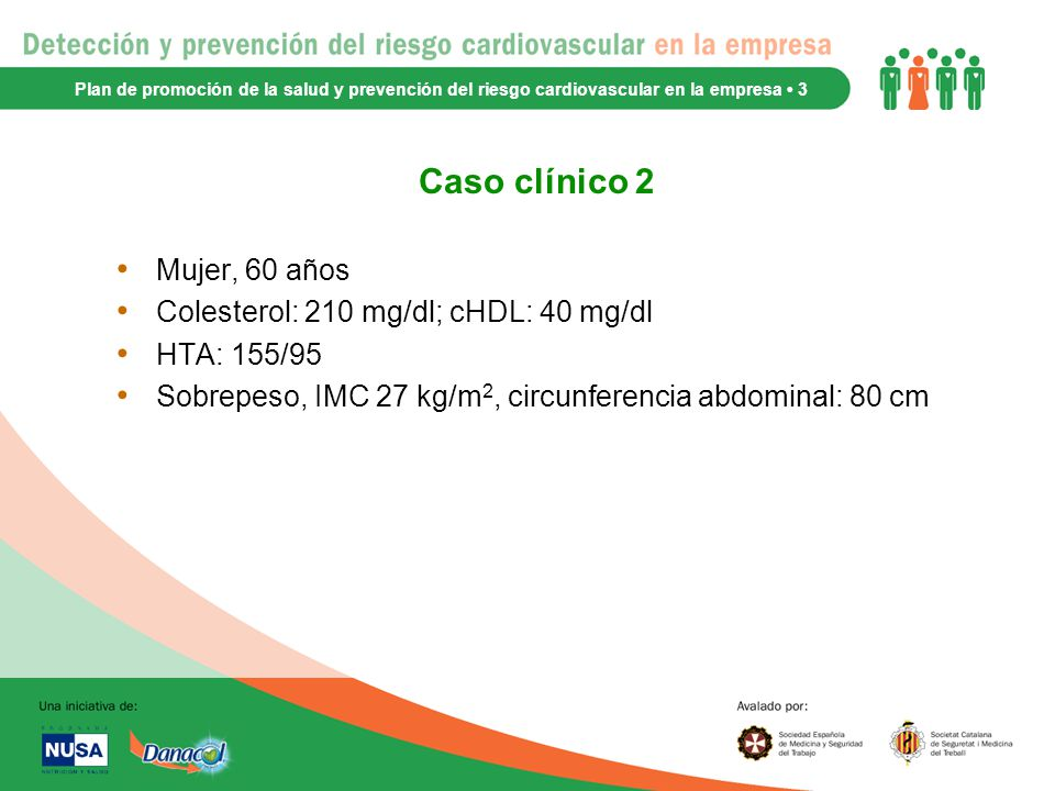 Caso clínico 2 Mujer, 60 años Colesterol: 210 mg/dl; cHDL: 40 mg/dl