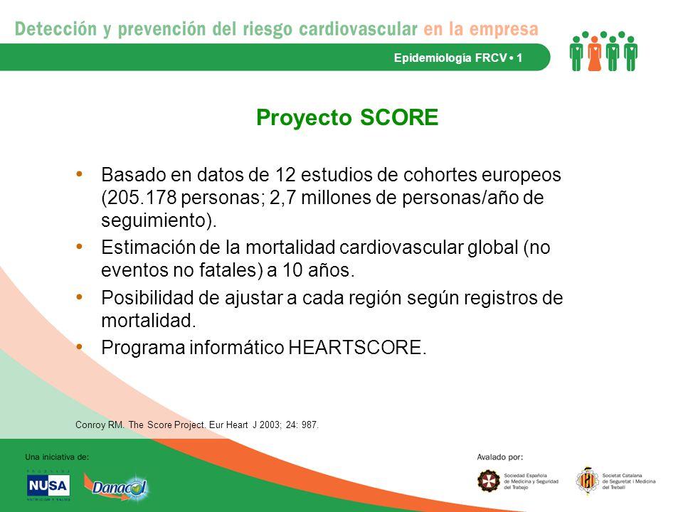 Epidemiología FRCV • 1 Proyecto SCORE.