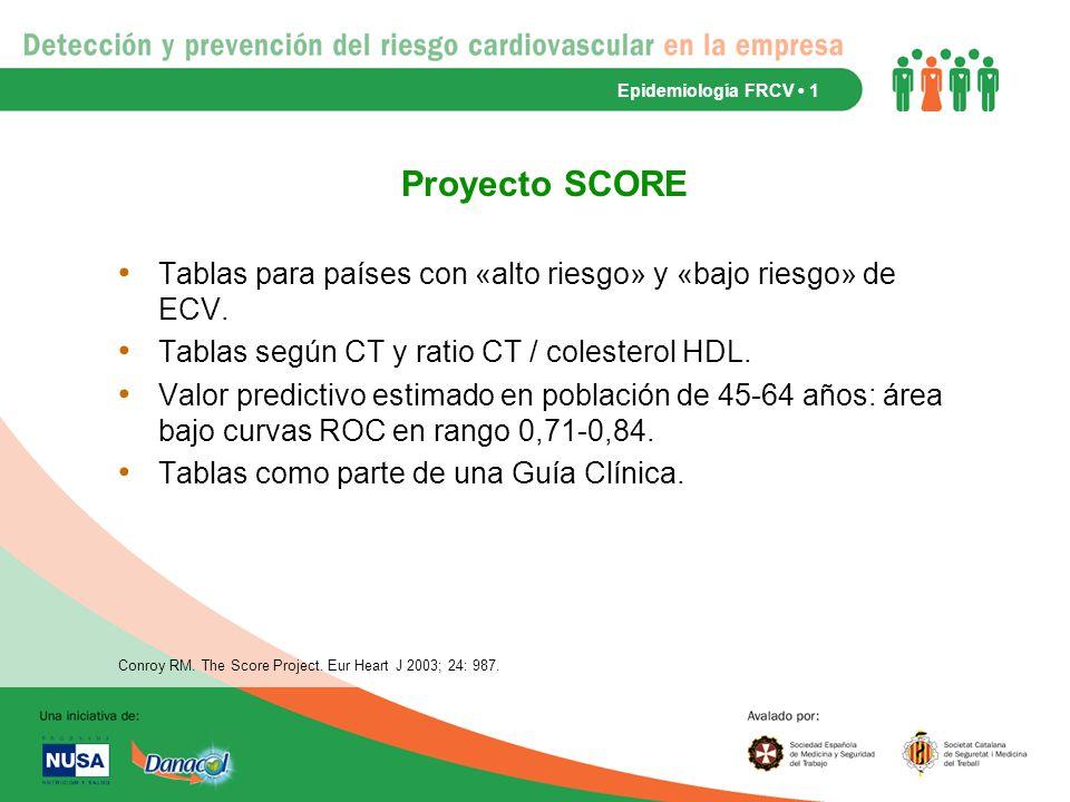 Epidemiología FRCV • 1 Proyecto SCORE. Tablas para países con «alto riesgo» y «bajo riesgo» de ECV.