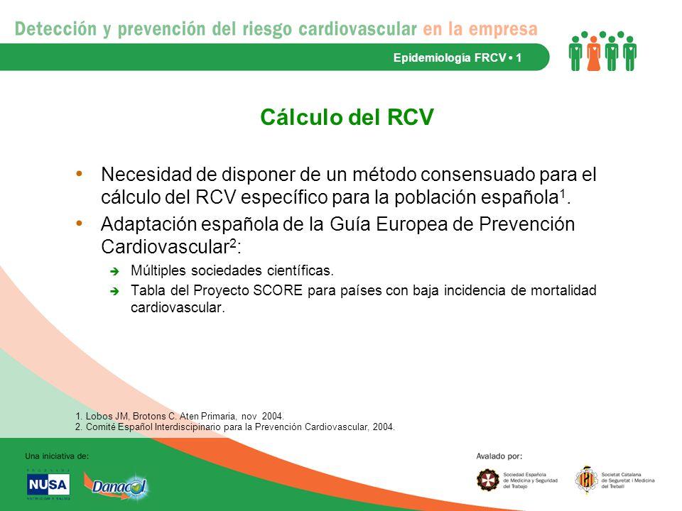 Epidemiología FRCV • 1 Cálculo del RCV.
