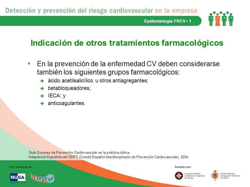 Indicación de otros tratamientos farmacológicos