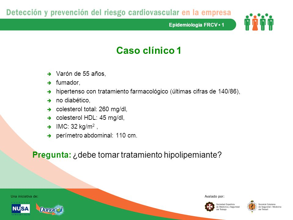 Caso clínico 1 Pregunta: ¿debe tomar tratamiento hipolipemiante