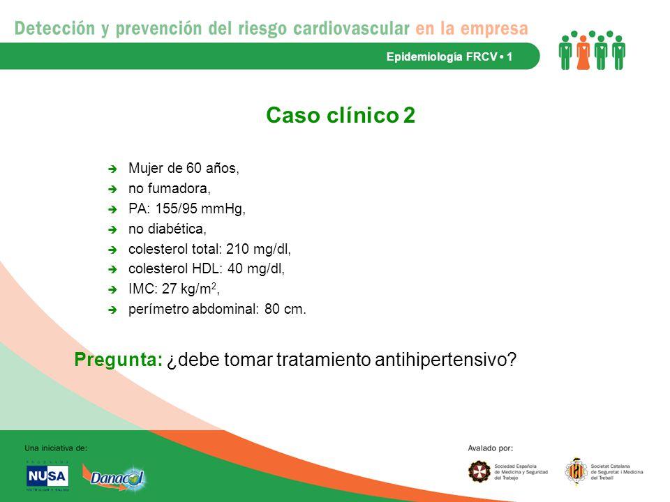 Caso clínico 2 Pregunta: ¿debe tomar tratamiento antihipertensivo