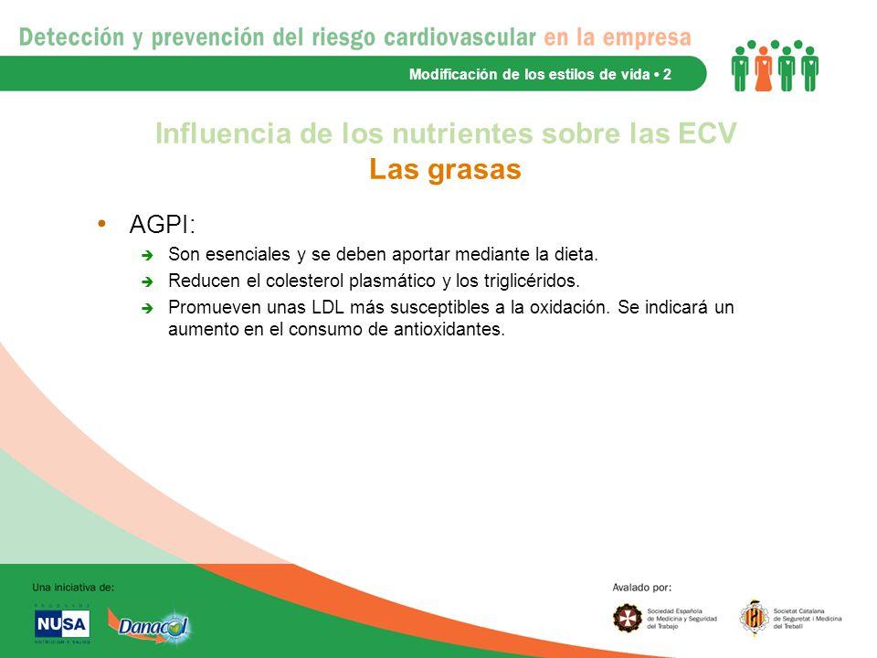 Influencia de los nutrientes sobre las ECV Las grasas