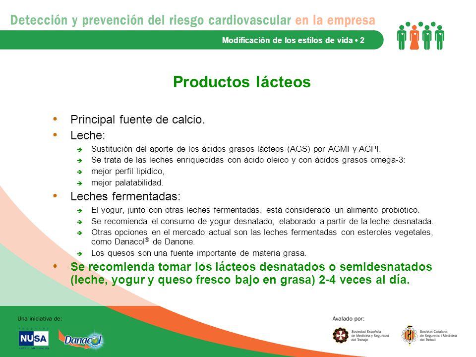 Productos lácteos Principal fuente de calcio. Leche: