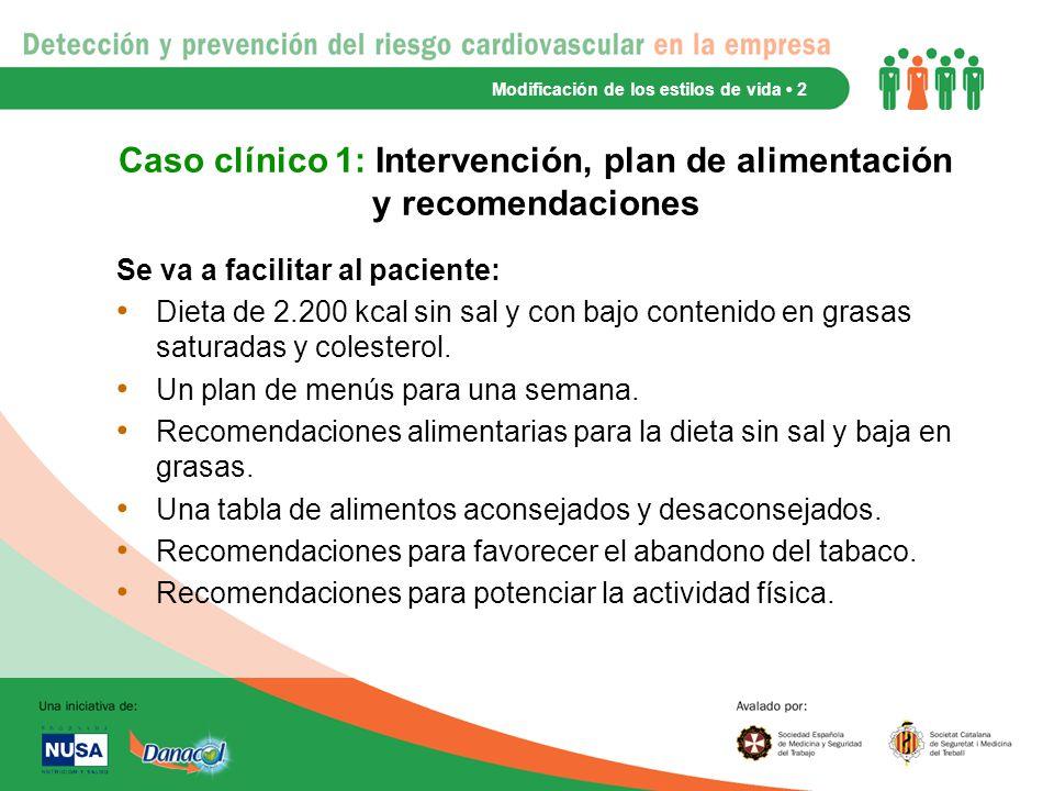 Caso clínico 1: Intervención, plan de alimentación y recomendaciones