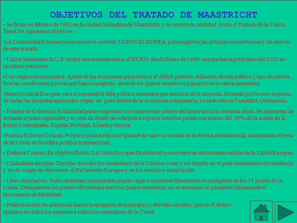 OBJETIVOS DEL TRATADO DE MAASTRICHT