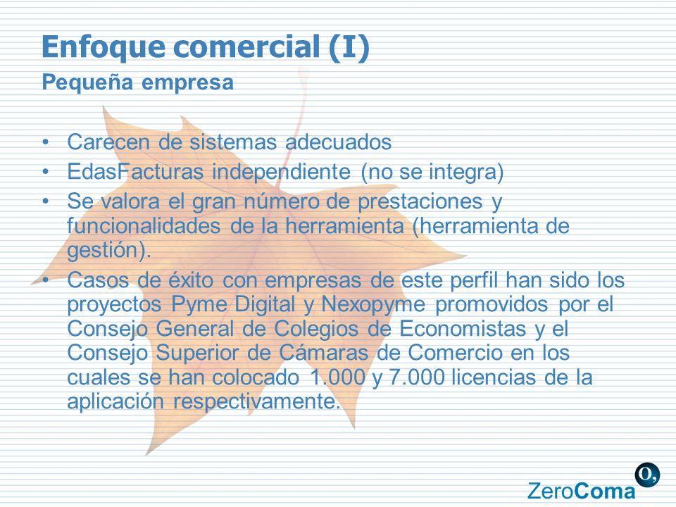 Enfoque comercial (I) Pequeña empresa Carecen de sistemas adecuados