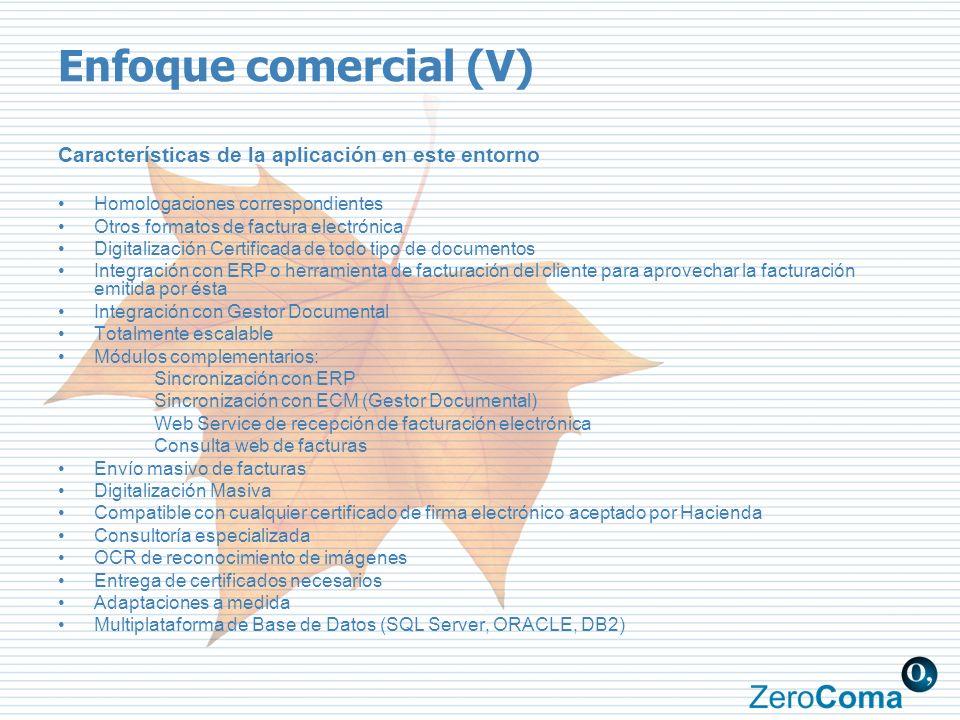 Enfoque comercial (V) Características de la aplicación en este entorno