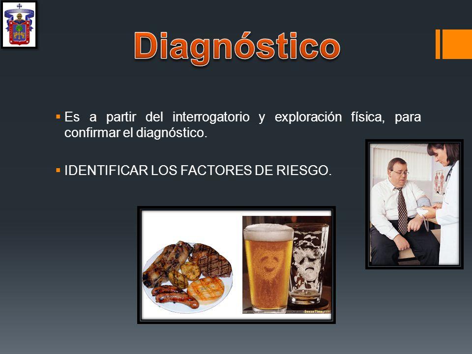 Diagnóstico Es a partir del interrogatorio y exploración física, para confirmar el diagnóstico.