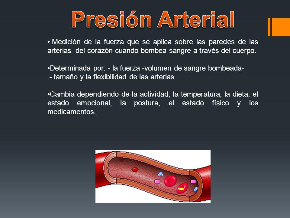 Presión Arterial Medición de la fuerza que se aplica sobre las paredes de las arterias del corazón cuando bombea sangre a través del cuerpo.